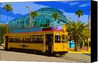 Tampa Digital Art Canvas Prints - Tampa Trolley Canvas Print by David Lee Thompson