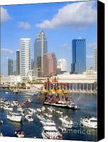 Tampa Bay Florida Canvas Prints - Tampas Flag Ship Canvas Print by David Lee Thompson