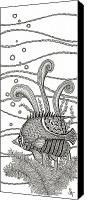 Bubbles Drawings Canvas Prints - Tangle Fish Canvas Print by Stephanie Troxell