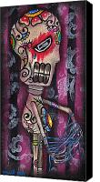 Sugar Skull Painting Canvas Prints - Tangled Canvas Print by  Abril Andrade Griffith