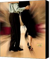 Black Tie Canvas Prints - Tango Love Tie Canvas Print by Concentria Concentria