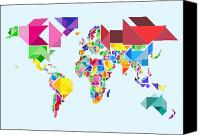 Abstract Map Digital Art Canvas Prints - Tangram Abstract World Map Canvas Print by Michael Tompsett