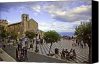 Public Square Canvas Prints - Taormina Tourists VI Canvas Print by Madeline Ellis