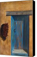 Santa Canvas Prints - Taos Blue Door Canvas Print by Jack Atkins