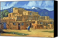 Four Corners Canvas Prints - Taos Pueblo Canvas Print by Randy Follis