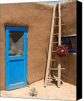 Ristra Canvas Prints - Taos Pueblo Scene Canvas Print by George Oze