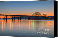 America Canvas Prints - Tappan Zee Bridge after Sunset II Canvas Print by Clarence Holmes