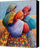 Bright Colors Canvas Prints - Tarahumara Women Canvas Print by Candy Mayer