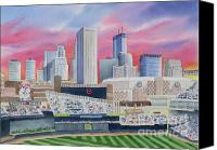 Baseball Painting Canvas Prints - Target Field Canvas Print by Deborah Ronglien