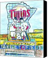 Baseball Painting Canvas Prints - Target Field  Canvas Print by Matt Gaudian