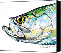 Flyfishing Canvas Prints - Tarpon Portrait Canvas Print by Mike Savlen