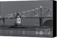 Sleepy Hollow Canvas Prints - Tarrytown Lighthouse and Tappan Zee Bridge at Twilight II Canvas Print by Clarence Holmes