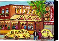 Hockey In Montreal Painting Canvas Prints - Tasty Food Pizza On Decarie Blvd Canvas Print by Carole Spandau