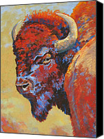 Bison Pastels Canvas Prints - Tatanka Canvas Print by Christine  Camilleri