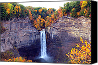 Yellow Trees Canvas Prints - Taughannock waterfalls in autumn Canvas Print by Mingqi Ge