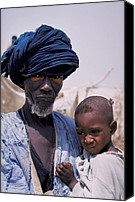 Senegal Canvas Prints - Taureg Father and Son in Senegal Canvas Print by Carl Purcell