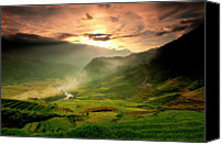 Mountain Scene Canvas Prints - Tavarn Village Canvas Print by Mattypok