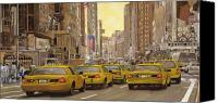 Statue Canvas Prints - taxi a New York Canvas Print by Guido Borelli