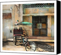 City Scape Digital Art Canvas Prints - taxi built for two Cuba Canvas Print by Bob Salo