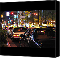Lot Canvas Prints - Taxis On Street At Night Canvas Print by Thank you for choosing my work.
