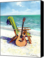 Guitar Canvas Prints - Taylor at the Beach Canvas Print by Andrew King