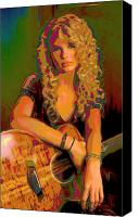 Celebrity Mixed Media Canvas Prints - Taylor Swift Canvas Print by Byron Fli Walker