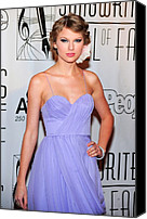 Updo Canvas Prints - Taylor Swift Wearing A J. Mendel Dress Canvas Print by Everett