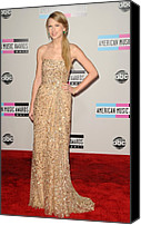 Nokia Theatre Canvas Prints - Taylor Swift Wearing A Reem Acra Gown Canvas Print by Everett