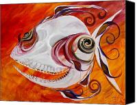 Scary Painting Canvas Prints - T.B. Chupacabra Fish Canvas Print by J Vincent Scarpace
