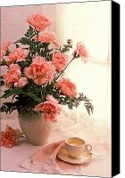 Vases Canvas Prints - Tea cup with pink carnations Canvas Print by Garry Gay