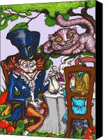 Mad Hatter Canvas Prints - Tea Party Canvas Print by Rae Chichilnitsky