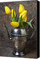 Stone Wall Canvas Prints - Tea Pot and Tulips Canvas Print by Garry Gay