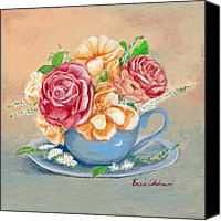 Fine Art - Still Lifes Canvas Prints - Tea Roses Canvas Print by Enzie Shahmiri