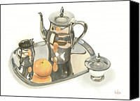 Silver Canvas Prints - Tea Service with Orange Canvas Print by Kip DeVore