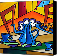 Wine Art Canvas Prints - Tea Time - Abstract Pop Art by Fidostudio Canvas Print by Tom Fedro - Fidostudio