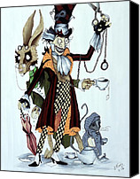 Mad Hatter Canvas Prints - Tea Time Canvas Print by Leeann Stumpf