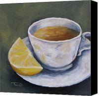 Lemon Painting Canvas Prints - Tea with Lemon Canvas Print by Torrie Smiley