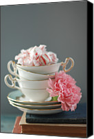 Carnation Canvas Prints - Teacups And Candy Canvas Print by Shawna Lemay