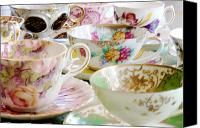 Tea Party Canvas Prints - Teacups Canvas Print by Kim Fearheiley