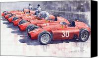 Italian Canvas Prints - Team Lancia Ferrari D50 type C 1956 Italian GP Canvas Print by Yuriy  Shevchuk