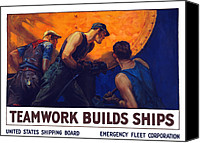 Ship Mixed Media Canvas Prints - Teamwork Builds Ships Canvas Print by War Is Hell Store