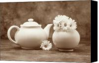 Tea Canvas Prints - Teapot with Daisies II Canvas Print by Tom Mc Nemar