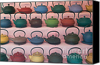 Household Canvas Prints - Teapots Canvas Print by Clarence Holmes