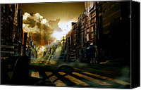 Apocalypse Mixed Media Canvas Prints - Tech City Canvas Print by Larry  Gibbs Jr