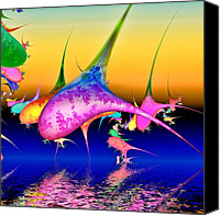 Sealife Digital Art Canvas Prints - Techno pod Canvas Print by Sharon Lisa Clarke