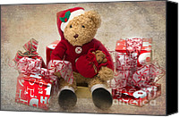 Teddybear Canvas Prints - Teddy at Christmas Canvas Print by Louise Heusinkveld