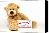 Free Hug Canvas Prints - Teddy bear with hug coupon Canvas Print by Blink Images