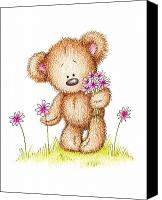 Holiday Drawings Canvas Prints - Teddy Bear With Pink Flowers Canvas Print by Anna Abramska