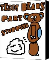 Teddybear Canvas Prints - Teddy Bears Fart Stuffing 1 Canvas Print by Jera Sky