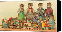 Teddybear Canvas Prints - Teddybears and Bears Christmas Canvas Print by Kestutis Kasparavicius